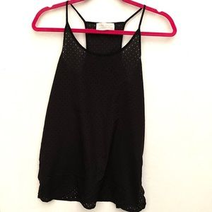 Zara Collection Perforated Black Racerback Tank